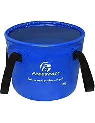 Balde Compacto Plegable Premium por Freegrace – Contenedor de Agua Plegable Portátil – Liviano y Duradero – Disponible en Varios Colores y Tamaños (Azul Marino, 16L)