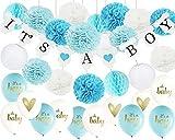32ps Baby Shower Dekorationen für Jungen Es ist ein Boy Bunting Banner, Oh Baby Ballons, Es ist ein Junge Ballons mit Seidenpapier Pom Poms und Papierlaternen Honecom Balls für Boy Baby Shower Decor