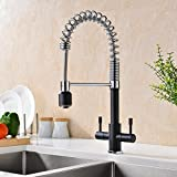 GICASA Solid Brass Double Lever Mono Kitchen Sink Taps Mixer, Pull Down Spout Kitchen Mixer Taps, Volcano Black and Chrome