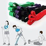 Amzdeal Fasce elastiche di resistenza/anelli fitness premium allenamento per a casa e in viaggio set di 4 (rosso, nero, viola ,verde ) formati differenti e tensione differenti