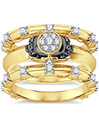 Silvernshine 14K Yellow Gold Plated 1.26Ct Round Cut Clear CZ Diamond 3PC Cluster Setting Skull Ring