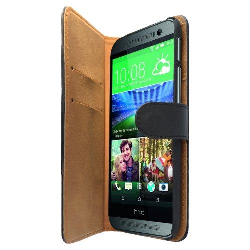 Slabo Flip Case Cover in Bookstyle für HTC One (M8) - Echt Leder - SCHWARZ | BLACK