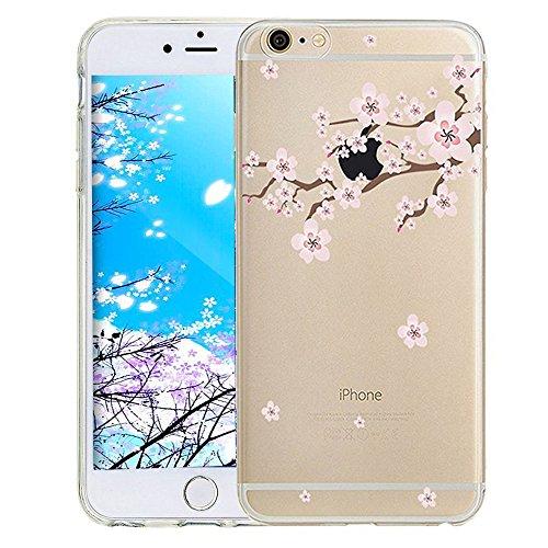 iPhone 8 Plus / 7 Plus 5.5 Zoll Hülle Transparente TPU Silikon Bumper Case Soft Gel Schutzhülle Cover,iPhone 8 Plus 5.5 Zoll Hülle Glitzer Silikon Case für iPhone 7 Plus,iPhone 8 Plus Hülle (5.5 Zoll) Y Cherry Blossom 4