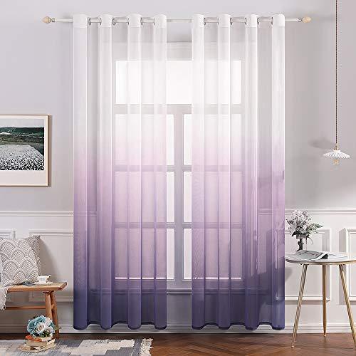 Lila Gaze (MIULEE Sheer Vorhang Voile Farbverlauf Dekoschal Vorhänge mit Ösen transparent Gardine 2 Stücke Ösenvorhang Gaze paarig Fensterschal für Wohnzimmer 145 cm x 140 cm(H x B) 2er-Set Lila)