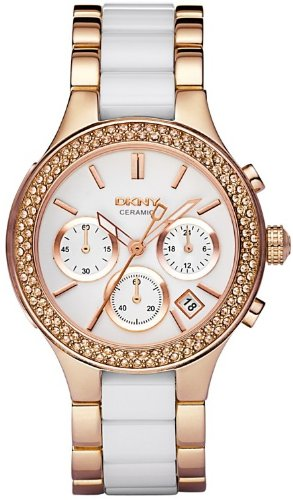 DKNY Chronograph Rose Gold -Tone and White Ceramic Ladies Watch NY8183 Wrist Watch (Wristwatch)