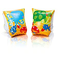 Intex Pair of Inflatable Sea Buddy Swim Full Arm Bands with 2 Independent Air Chambers - Swimming Aids for 3 - 6 Year Old Kids and Children