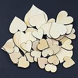 Bluelans® 50 Stück Deko-Herzen aus Holz Scheiben unlackiert natürliche DIY Scrapbook Handwerk Verzierungen Hochzeit Herz Konfetti (Herz)