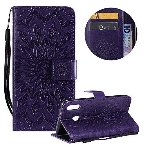 Gurt Brieftasche für Samsung Galaxy M20,Lila Handyhülle für Samsung Galaxy M20,Moiky Ziemlich Schöne Mandala Sonnenblume Geprägt Klappbar Kartenfächer Stoßdämpfende Ledertasche mit Stand Samsung Rugby