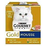 Gourmet Gold Mousse Kattenvoer, Natvoer met Kip, Zalm, Niertjes en Konijn, 8 x 85g - Doos van 6 (48 Blikjes; 4,08kg)