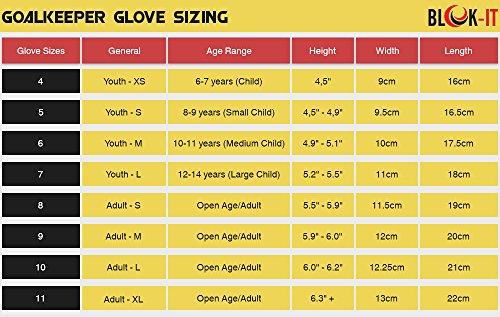 Blok-iT Gants de Gardien de But Tailles Adultes et Enfants (Vert, Taille 5 = Youth - S)