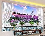 Fondo de Pantalla HD para Arte de Pared 3D alféizar de la Ventana Flores de Lavanda Mural de Fondo de Pared Fondo de Pantalla de Personalidad de Moda moderna-400x280cm