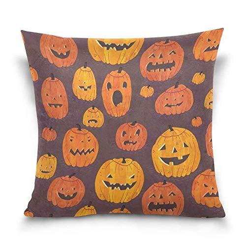 Xukmefat Halloween Pumpkins Pattern Cotton Velvet Decorative Throw Pillow Case Cushion Cover 18 X 18 inch