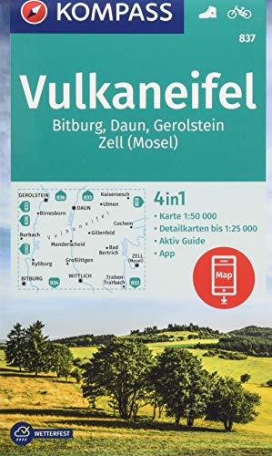 KOMPASS Wanderkarte Vulkaneifel, Bitburg, Daun, Gerolstein, Zell (Mosel): 4in1 Wanderkarte 1:50000 mit Aktiv Guide und Detailkarten inklusive Karte ... (KOMPASS-Wanderkarten, Band 837)