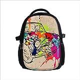 Zaino per ragazze ragazzi donne e bambini - Borsa imbottita alla moda per la scuola con tasca laptop - Spiaggia città sport - Fiori Farfalle - Zaino comodo di solido tessuto telato - Butterfly black