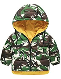 Lukis Unisex Kids Thicken Hooded Camouflage Reversible Coat Winter Cotton  Padded Warm Down Jacket Casual Hooded a87b4e7ee349