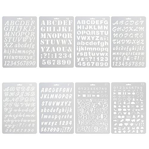 ccmart Kunststoff Bullet Journal Schablone Set der Zahl 8mit Buchstaben Alphabet Symbol Perfekte für Planer/Notebook/Diary/Scrapbook/Journaling/Graffiti/Karte DIY Zeichnen Malen Basteln Projekte (Alphabet-schablone Karten)