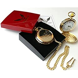 Fishing Gold Pocket Watch Anglers 24k Fob Watch with Chain Fisher Fisherman Gift in Box