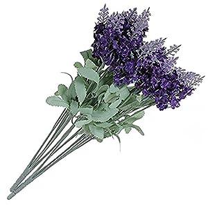 SODIAL Arbusto Lavanda Flor Artificial Lavanda 10 sucursales Solo 1 Flor 1 felicitacion Regalo Pequeno de Cumpleanos…