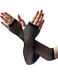 035ad4b74abe0b EROSPA® Netz-Handstulpen lang fingerlos Damen Handschuhe schwarz -  Einheitsgröße