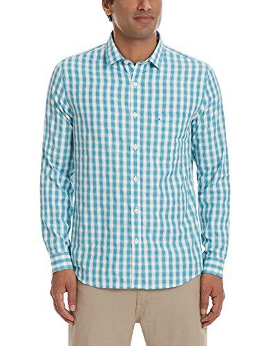 John Miller Men's Casual Shirt (8907372343693_1VS03362_42_Aqua)
