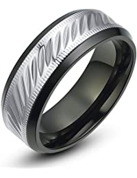 Stainless Steel Oval and Milgrain Pattern 8mm Mens Wedding Band Ring (Black and Silver)