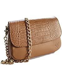 GrippDC Leather Sling Bag Small. Betty Crossbody - Camel. Croco Leather Flap.