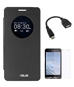TBZ Flip Case With Screen Guard For Asus Zenfone 5 (Black)
