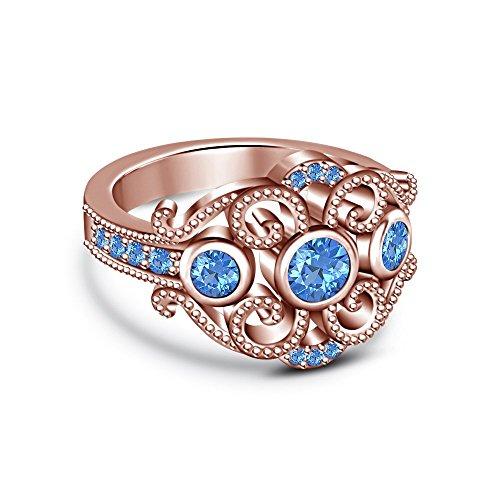 Vorra Fashion 14K Rose Vergoldet 925Silber Rundschliff London Blau Topaz Disney Princess Ring (Disney Princess-ring Blau)