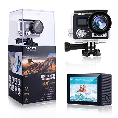 4K Action Kamera,POSIVEEK 24MP WiFi Sport Kamera Ultra HD mit 30M unter Wasser Wasserdichte Kamera 170 Grad Weitwinkel 2 Zoll LCD Bildschirm Fernbedienung DV Camcorder mit 2 Batterien