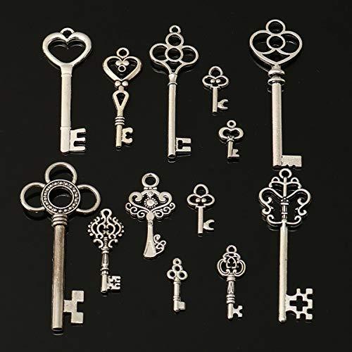 AiCheaX 13pcs Splitter Antique Vtg alt aussehen Kunstvolle Skeleton Keys Lot Anhänger Phantasie Herz DIY Schmuck
