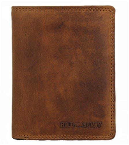 Große Herren Leder Geldbörse/geräumiges Portemonnaie/XL Geldbeutel mit Münzfach/Portmonee mit vielen Fächern braun Hill Burry 6401