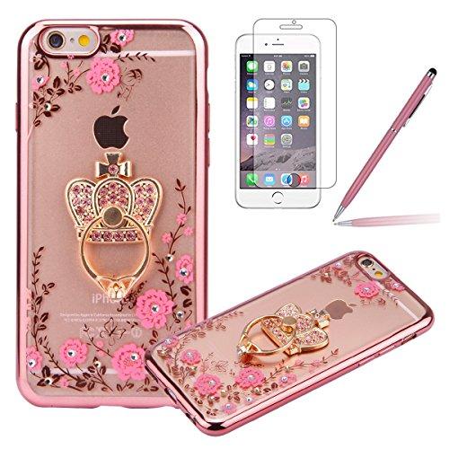 iPhone 6S Custodia Rigida,iPhone 6 Cover Trasparente con Disegno,Felfy iPhone 6/6S 4.7 pollice Rose Gold (Anello Fiore Crystal Rose)