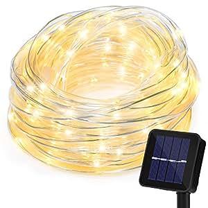 10m Catena Luminosa Energia Solare con Protezione Tubo, Strisce Luci RGB 100 LED con Modelli di Illuminazione (includere Stabile, Flash, Cambio Automatico), 8 Tipi di , Filo di Rame, Tempo di Lavoro 8-15 ore, per All'aperto, Giardini, Patio, Decorazione