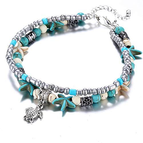 HIWSSH Gürtel-Bohemian Crystal Stone Anklets Double Beach Foot Chain Conch Starfish Alloy Turtle Pendant Leg Bracelet Women Jewelry