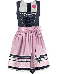 Dirndl Shiner 50er Länge blau rosa