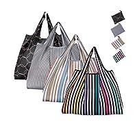 Reusable Shopping Bag, Teoyall Foldable Eco Friendly Grocery Bag Heavy Duty Washable Tote Bag (3PCS Striped + 1PC Circle Black)