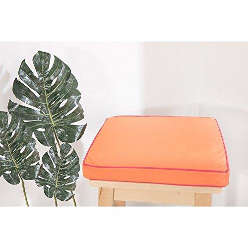 RideauDiscount Galette de Chaise Imperméable Carrée 38 x 38 x 4 cm Bicolore Orange Rose