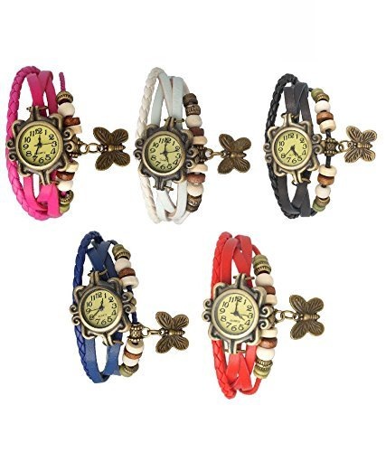 Aaradhya Fashion Analogue Black, Blue, Pink, White, Red Dial Girl's Combo Of 5 Watch(A9Fdori-Wpbrblue2112)