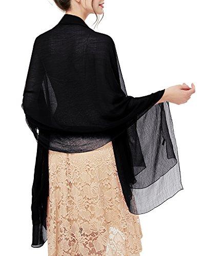 bridesmay Damen Strand Scarves 180CM*130CM Sonnenschutz Schal Sommer Stola für Kleider in 14 Farben Black