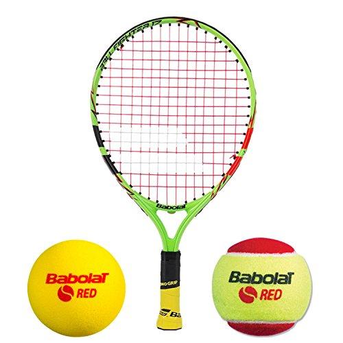 Babolat Ballfighter 43,2 cm Junior Tennisschläger-Set, gebündelt mit Einer Tasche und/oder Starterbällen nach Wahl Set für Kinder ab 5 Jahren, Jungen, No Backpack, 3 Red Foam Balls Lila Junior Set