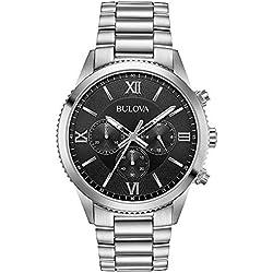 Bulova 96A212 - Reloj de Pulsera para Hombre, cronógrafo de Cuarzo, Esfera Gris, Acero Inoxidable, 42 mm