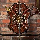 Powzz ornament Pezzi da Collezione Medieval Wall Decoration Shield with Sword Wall Armor Decorazione da Parete Decorazione da Parete, Armor Shield Wall-38Cm * 29Cm