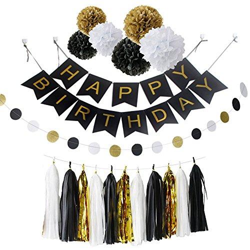 Ipalmay Weißes Gold und Schwarzes Geburtstags-Dekoration-Satz, alles Gute zum Geburtstagfahne, Vielzahl des Gewebes Pom Poms mit Gewebe-Troddel, am besten für Thema-Partei-Dekor