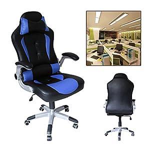 511EaJN1nuL. SS300  - HG-silla-giratoria-de-oficina-silla-de-juego-confort-premium-reposabrazos-acolchados-silla-de-carrera-capacidad-de-carga-200-kg-altura-ajustable-negro-azul