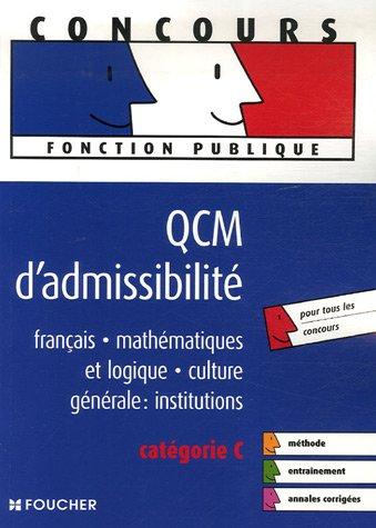 QCM d'admissibilité : Catégorie C