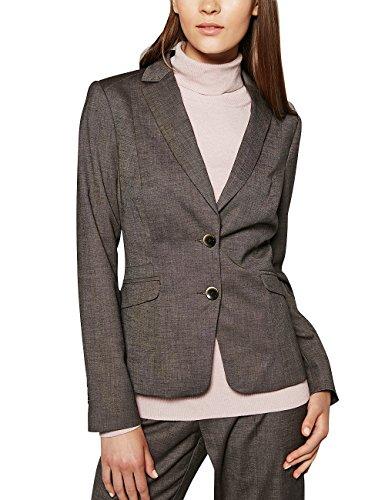 comma Damen Blazer 85.899.54.0131, Gr. 42, Grau (grey/black tweed 96P2) (Blazer Damen Tweed)