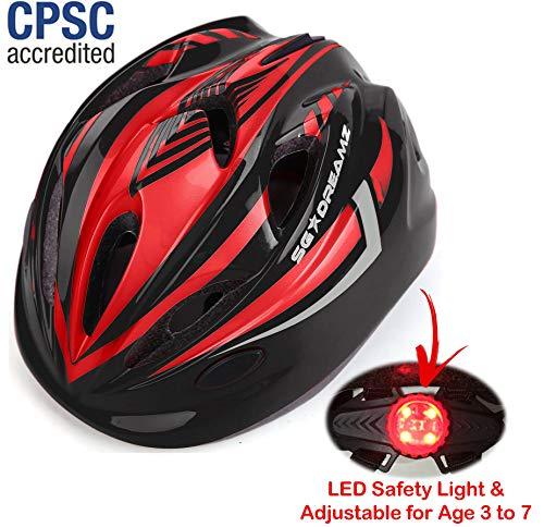 Kinder-Fahrradhelm – verstellbar von Kleinkinder bis Jugendgröße, Alter 3 bis 7 – langlebige Kinder-Fahrradhelme mit lustigem Racing-Design für Jungen und Mädchen werden lieben – CSPC-zertifiziert für Sicherheit, Black Red With Light