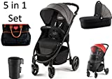 Kombikinderwagen Recaro Citylife Graphite 2in1 Kinderwagen Set Zubehör 5in1