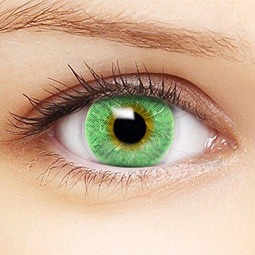 Farbige grüne Kontaktlinsen 'Intense Green' +Behälter für DUNKLE und HELLE Augen ohne und mit Stärke