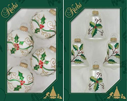 Krebs Glas Lauscha - 4 Kugeln und 4 Glocken in traditionellen Farben mit klassischem Glitterdekor - bis 7,5 cm - Christbaumkugeln
